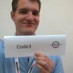 Michel met Code3 bord bij onze stand.