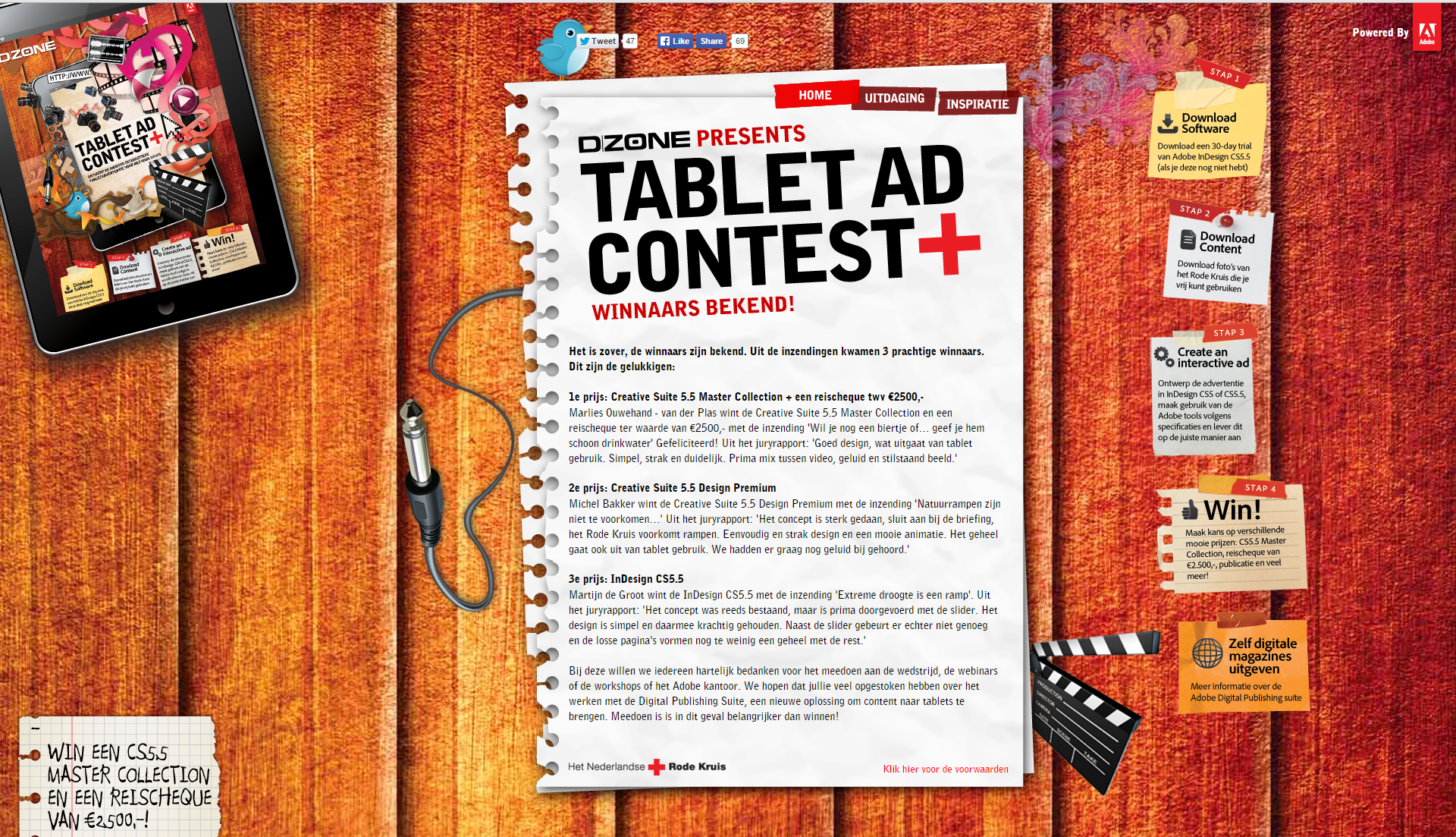 Homepagina van Adobe Tablet Ad Contest.